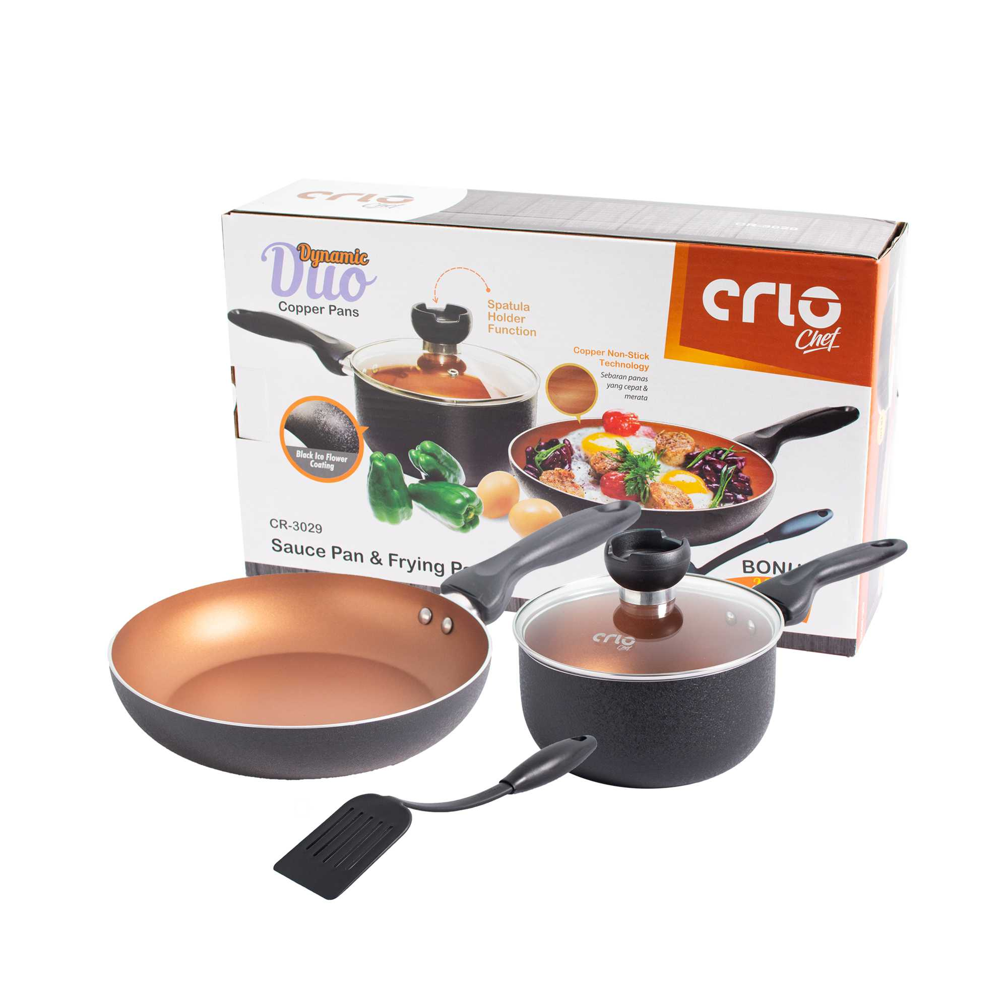CRIO Dynamic Duo Copper Series Cookware + Spatula